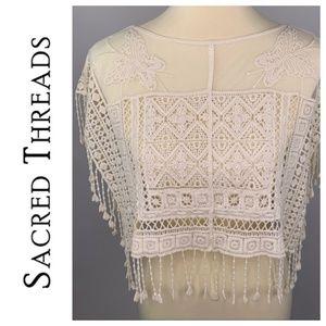 Sacred Threads Crochet Shawl Top Boho Lagenlook OS
